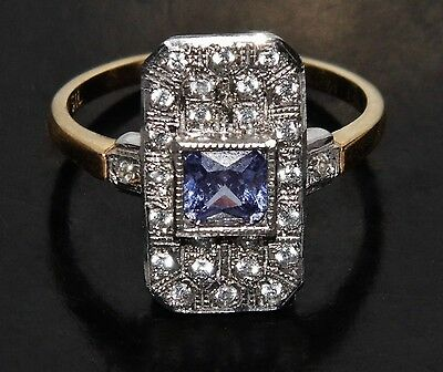 9ct Yellow Gold on Silver Ceylon Sapphire Victorian Design Cluster Ring size O