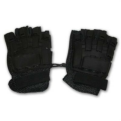 iiSports BLACK Paintball Airsoft Armored 1/2 Half Finger Leather Gloves Small
