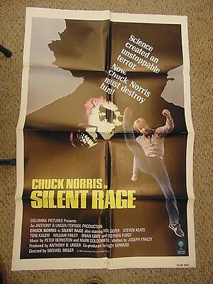 "Chuck Norris Silent Rage Original 27x41"" One Sheet Movie Poster #M4567"