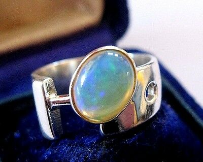 Vintage Style Modernist Solid 925 STERLING SILVER Natural OPAL Jewellery RING 6