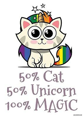 50% Cat, 50% Unicorn Mini Poster 32x44cm