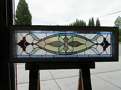 ~ Antique Stained Glass Transom Window  ~ 16 X 48 ~  Architectural Salvage ~