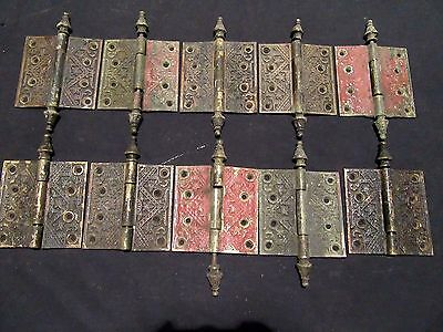 ~ 10 ANTIQUE ORNATE BRASS HINGES ~ 4.5 x 4.5 INCHES  ~ ARCHITECTURAL SALVAGE ~