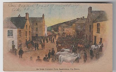 Saintfield, Co. Down Ireland Irish. Horse Fair. Main St. Downpatrick St. P/u1907