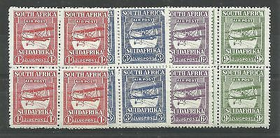 SOUTH AFRICA 1925 Airmail set, the forgeries in blocks of 4 (see note in SG) unm
