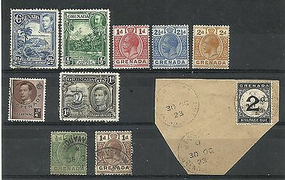 GRENADA Geo V & Geo VI oddments inc 2d postage due on piece used in 1923 (10 sta