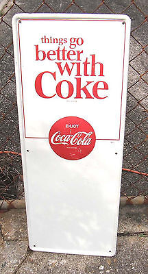 1960's Embossed Button Things Go Better With Coke Coca-Cola Vertical Tin Sign