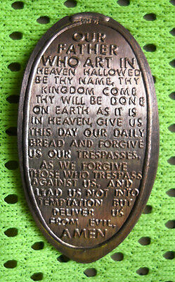 The Lord's Prayer elongated penny USA cent 1973 copper souvenir coin