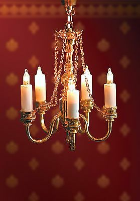 1/12Th Scale Dolls House Five Arm Candle Lit Chandelier