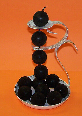 Black chain of 12  candles with white and gold finish holder - Made in Austria
