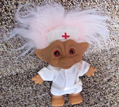 "NURSE TROLL Doll ~ RN Medical Red Cross Original Outfit 5"" tall with Pink Hair"