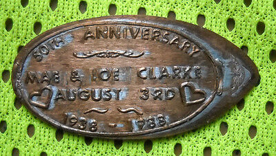 Clarke 50th Anniversary elongated penny USA cent 1938 1988 souvenir coin