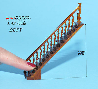 "1:48 1/4"" quarter scale straight Left staircase Top quality dollhouse miniature"