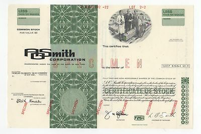 SPECIMEN - A.O. Smith Corporation Stock Certificate