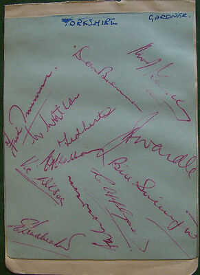 Cricket Autographs 1951 - Yorkshire CCC - Signed by 12 players