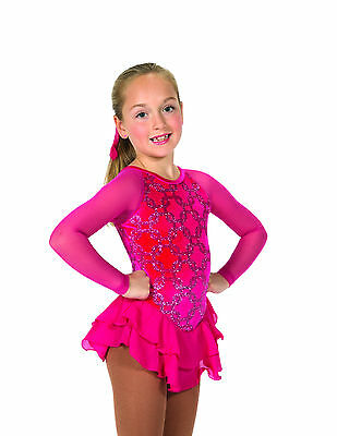New Jerrys  Skating Dress 14 Chain Effect Dress – Fire Pink Made on Order
