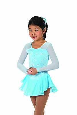 New Jerrys  Skating Dress 12 Rhinestone Dress - Crystal Blue Made on Order