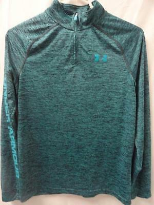 Youth Under Armour teal combo half zip heat gear loose athletic top size- YXL