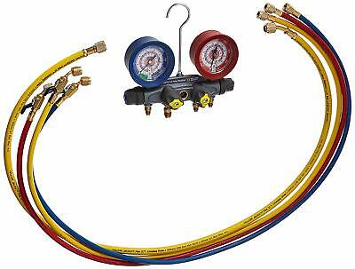 "Yellow Jacket 46003 BRUTE II 4-V Manifold Set-60"" Hoses w/ Ball Valve Ends"