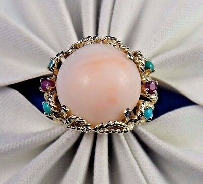 Vintage 14k Solid Yellow Gold Angel Skin Coral Turquoise Ruby Ring Size 5.5