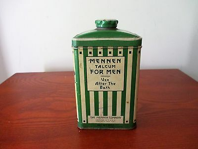 Vintage Mennen Talcum For Men Use Afterthe Bath Talc Powder Tin & Contents Green