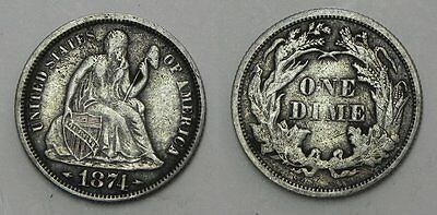 1874 Seated Dime with Arrows, nice XF