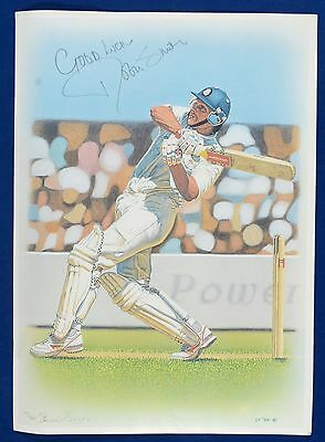 Robin Smith Signed Illustration print - Hampshire Cricket Captain 1994/98