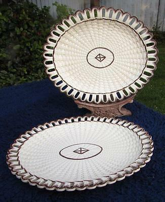 Pair of Turner Creamware Basketweave Pattern Oval Trays Circa 1800