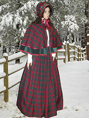 Ladies Victorian Dickensian 3pc tartan  gentry costume - fancy dress. Gr&burg