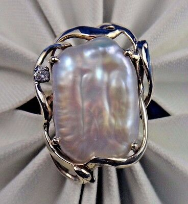 Vintage 14k Solid Yellow Gold Baroque Pearl Diamond Ring Size 5.75