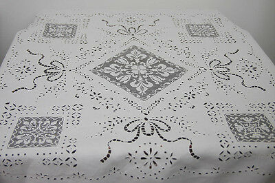 Antique Extensive Handworked Tablecloth Lace Embroidery Filet (4858)