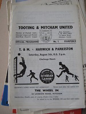 5.8.1967 Totting & Mitcham United v Harwich & Parkeston Challenge Match Friendly