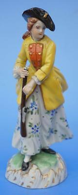 Antique Porcelain Dresden Figurine Lady Huntress