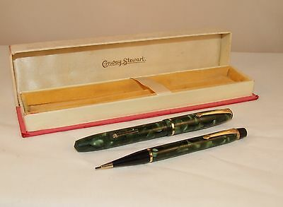VINTAGE CONWAY STEWART No.15 FOUNTAIN PEN & No.3 NIPPY PENCIL SET - C1949