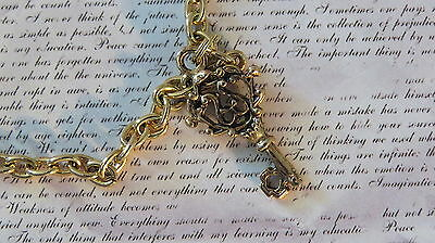 Vintage Gothic Skeleton Key Anklet Cable Chain Gold Plate Goth Vintage Inspired