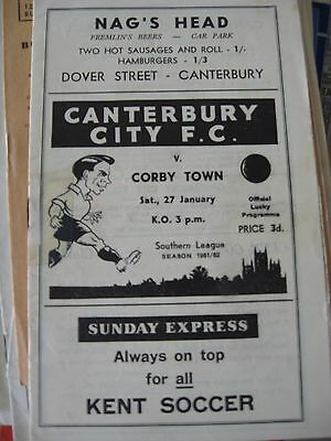 1961-62 Canterbury City v Corby Town Southern League 27.1.1962