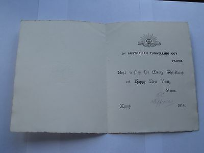 ORIGINAL WW1 3rd AUSTRALIAN TUNNELLING COY CHRISTMAS & NEW YEARS CARD 1916