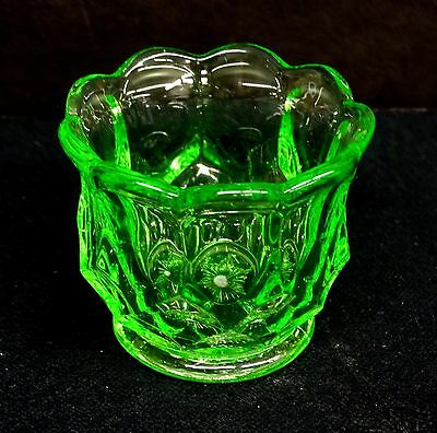 "EAPG Apple Green Toothpick Holder, ""Kanawa"" Pattern by Riverside Glass c1905"