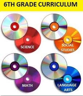 6th Grade Curriculum CDs 4-Subjects+Online Activities/Quizzes Homeschool 6