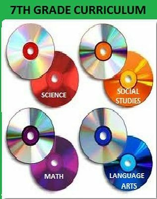 7th Grade Curriculum CDs 4-Subjects+Online Activities/Quizzes Homeschool 7