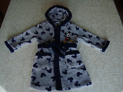 Boys Disney Mickey Mouse Grey Dressing Gown 18 - 24 Months Swimming Bed Time