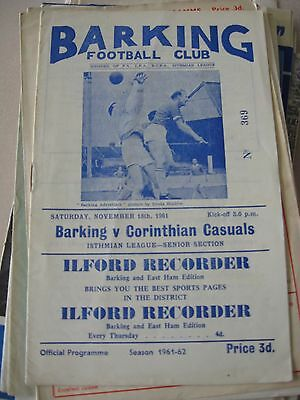 1961-62 Barking v Corinthian Casuals Isthmian League 18.11.1961