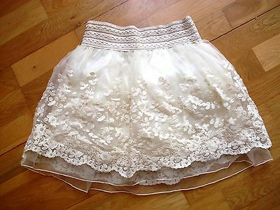Gorgeous vintage style ivory lace multi layered skirt fit age 11-12 excellen con