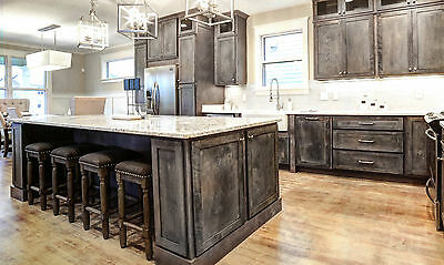 Gray Shaker Rustic Kitchen Cabinets-Color Sample-RTA-All wood, in stock