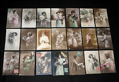 Lot D19 : 21 Cpa Femme Charme Robe Miss Pin-Up Lady Mode Elegance Belle Epoque