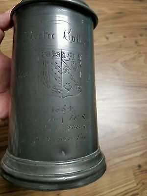 Antique Victorian Pewter Rowing Tankard Exeter College Oxford University 1864