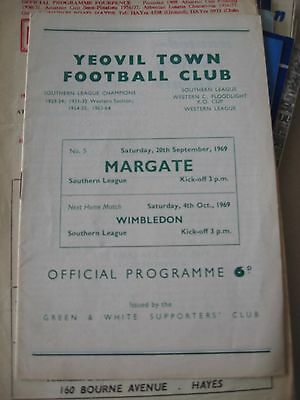 1969-70 Yeovil Town v Margate Southern League 20.9.1969
