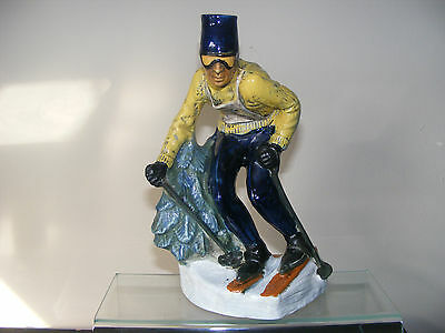 VINTAGE 1960's HAND PAINTED CAPODIMONTE SKIING SKIER FIGURE WINE DECANTER BOTTLE