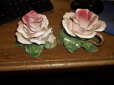 SET OF 2 BASSANO ITALY ROSE CANDLE HOLDER Capodimonte PINK LEAF CHIPPED   (ZZ4)