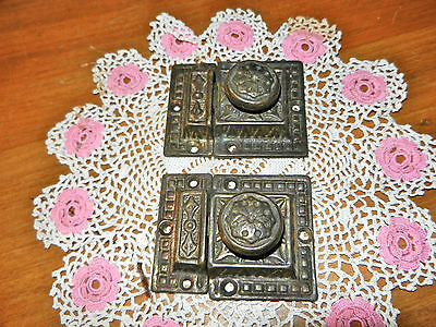 2 ANTIQUE BRASS EMBOSSED CABINET CUPBOARD DOOR LATCH HARDWARE Working Condition